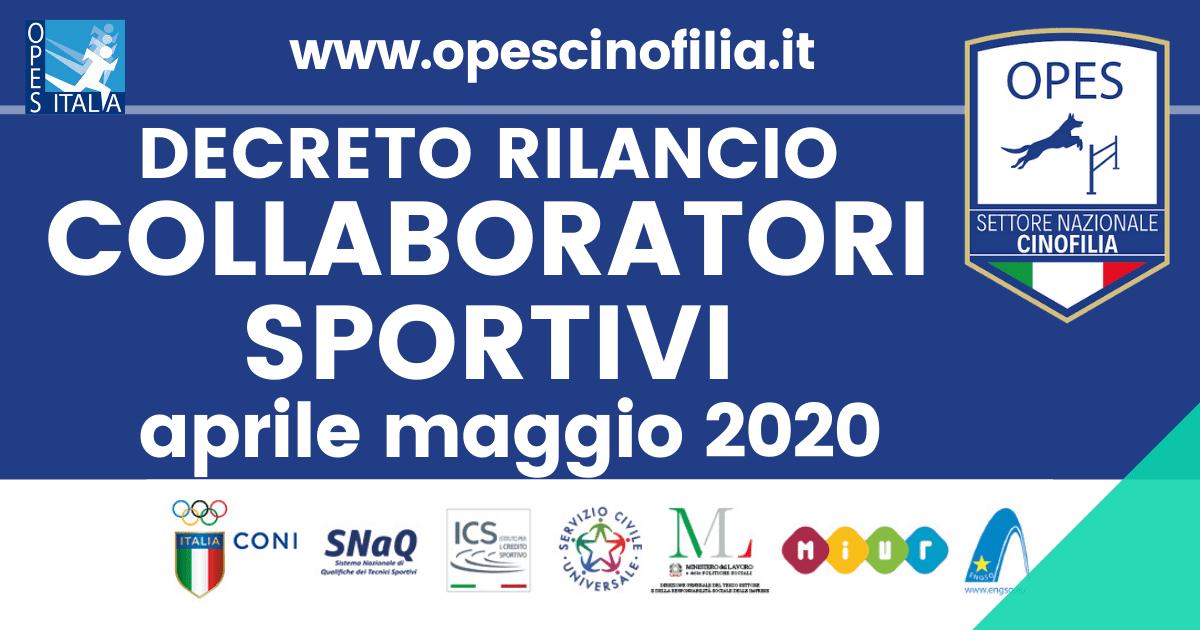Decreto rilancio collaboratori sportivi aprile maggio 2020